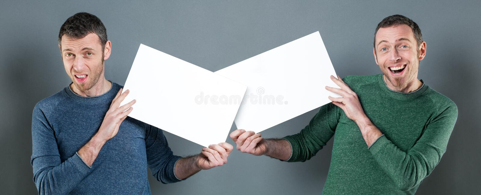 Concept of message confusion with man displaying copy space communication royalty free stock photos