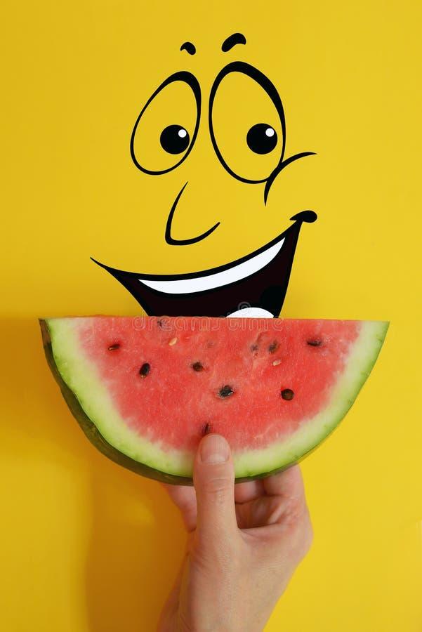 Concept met de watermeloenplak van de handholding stock afbeelding