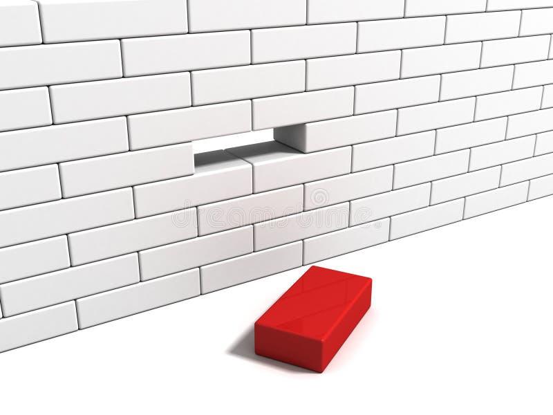 Concept met rode baksteen van witte muur royalty-vrije illustratie