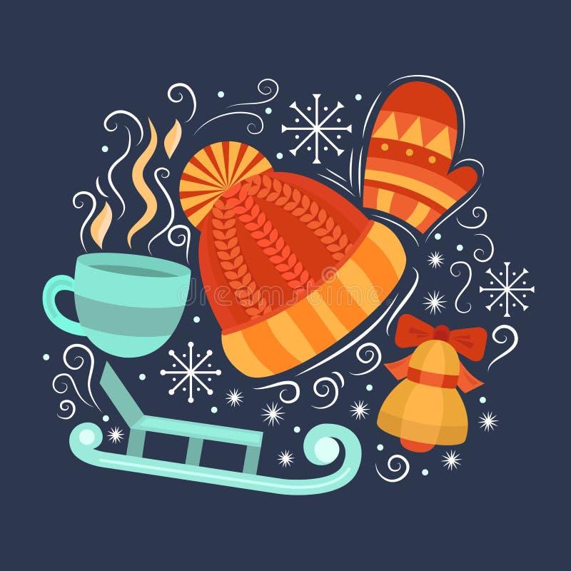 Concept met symbolen van de winter royalty-vrije illustratie