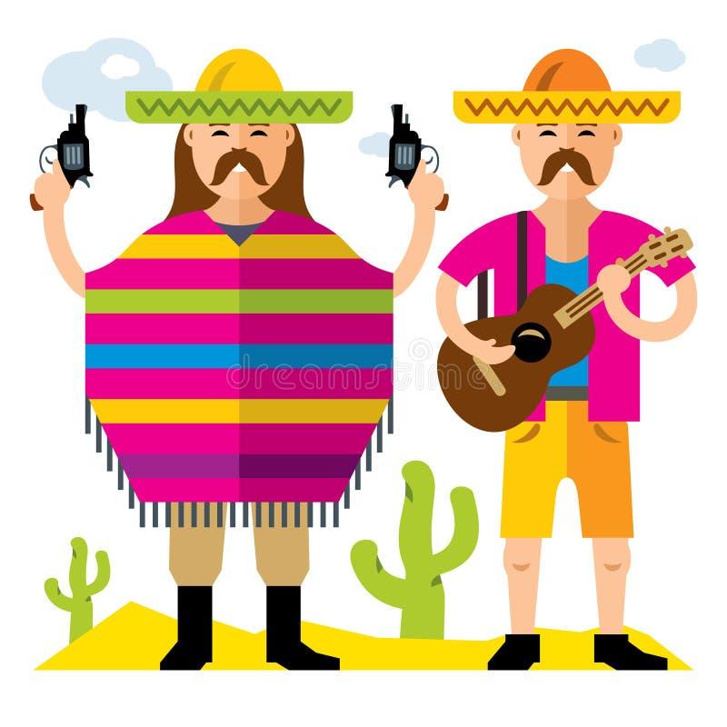 Concept Mexique de voyage de vecteur Illustration colorée de bande dessinée de style plat illustration stock
