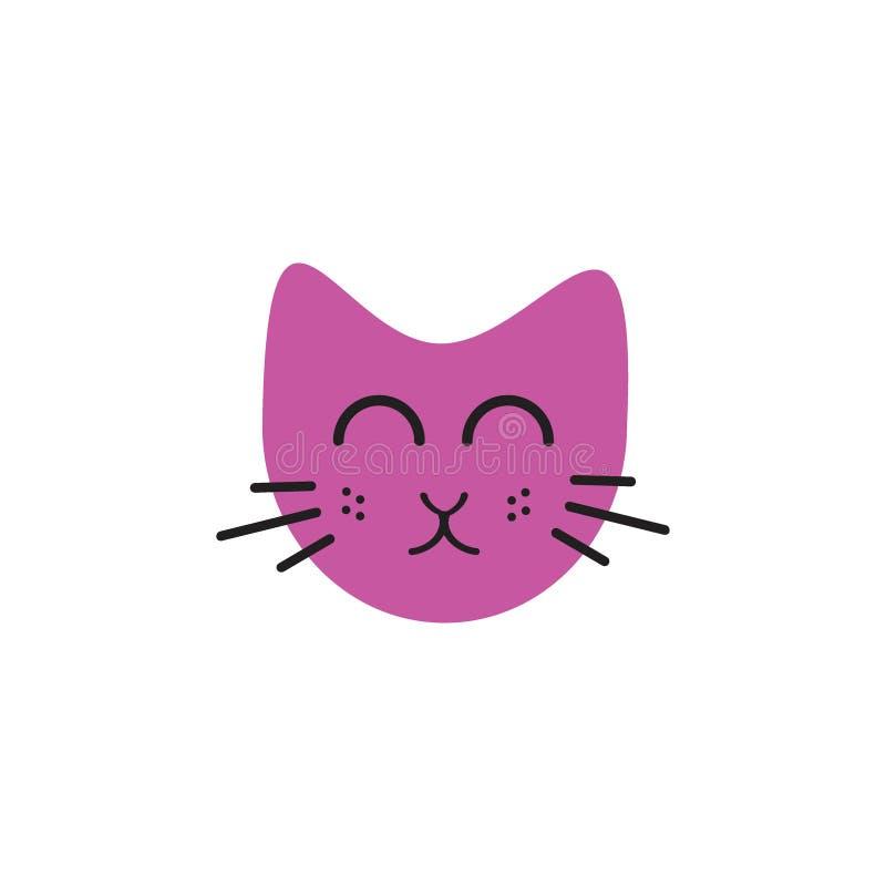 Concept mignon de logo d'illustration d'émoticônes de chat de visage illustration libre de droits
