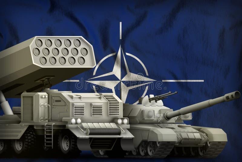 Concept militaire lourd de véhicules blindés de l'OTAN sur le fond de drapeau national illustration 3D illustration stock