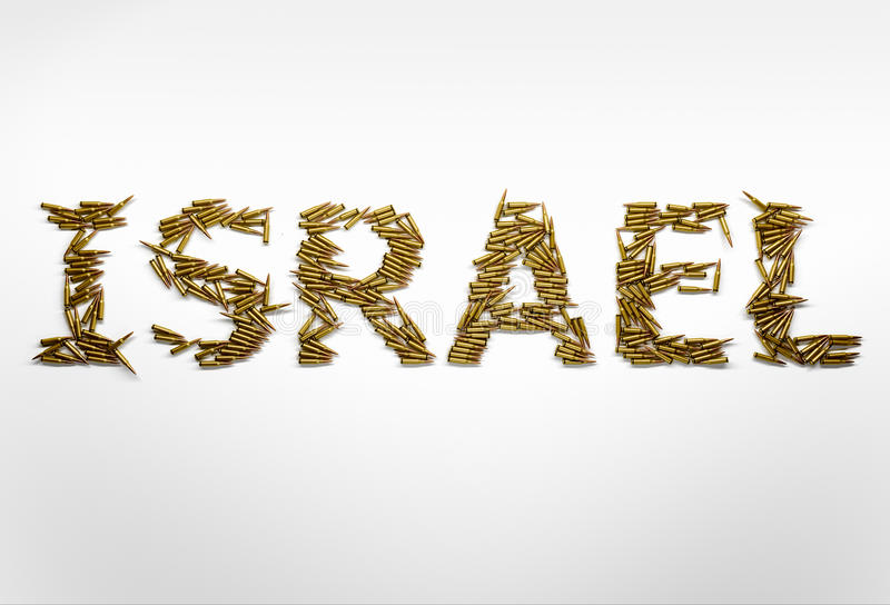 Concept of military conflict in Israel. Word Israel typed with f. Ont made of bullets on white background stock images