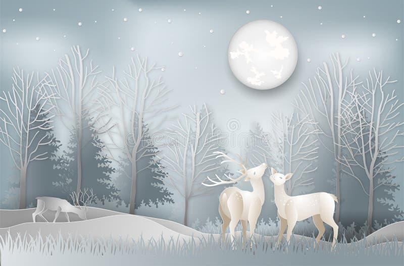 Concept minimal des cerfs communs de saison d'hiver et de jour de Noël sous le Th illustration libre de droits