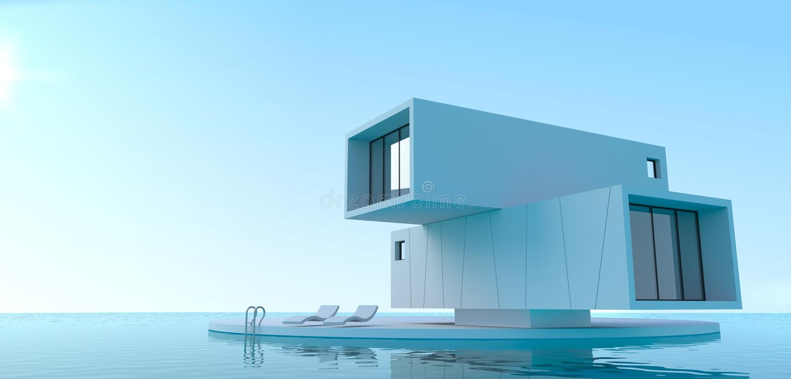 Concept minimalism villa on the sea. 3d illustration. Concept minimalism villa on the sea. House of containers. Pool vector illustration