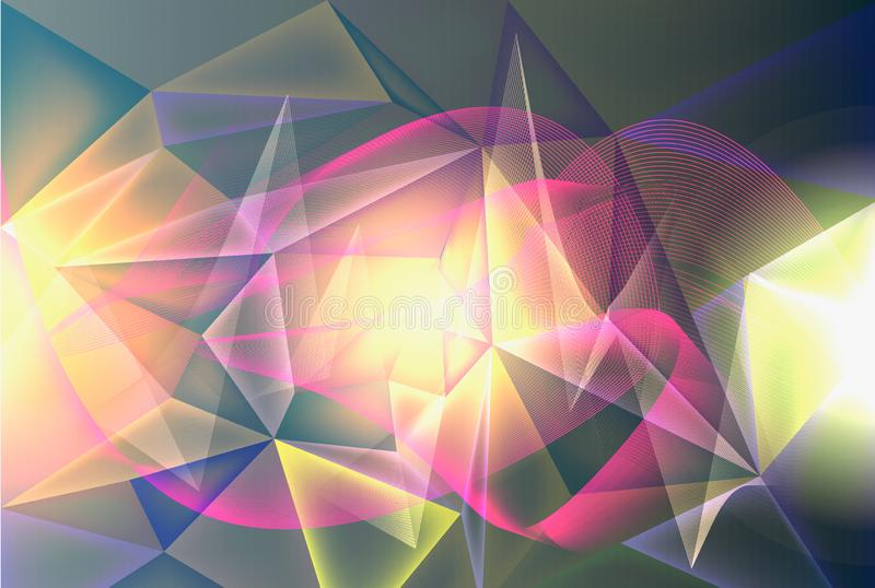 Concept miracle motion graphic illustration of future,futuristic abstract illuminate line and dot connection bright blue purple royalty free illustration