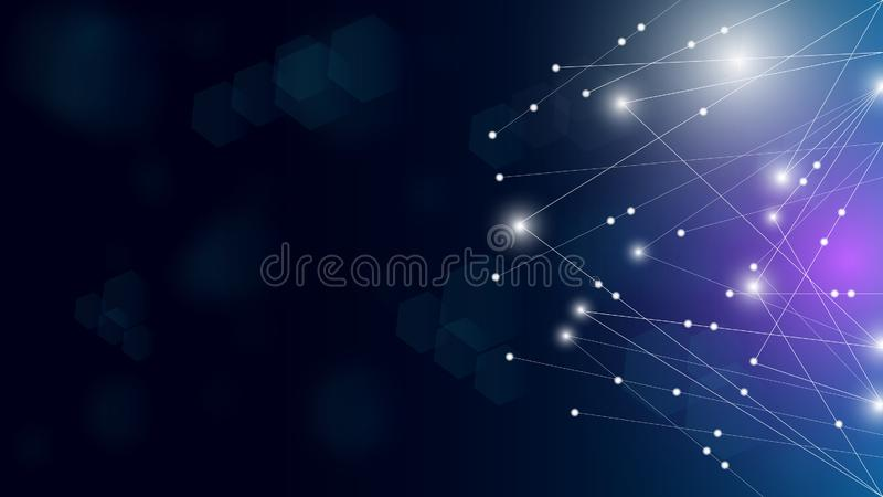 Concept miracle motion graphic illustration of future,futuristic abstract illuminate line and dot connection bright blue purple vector illustration