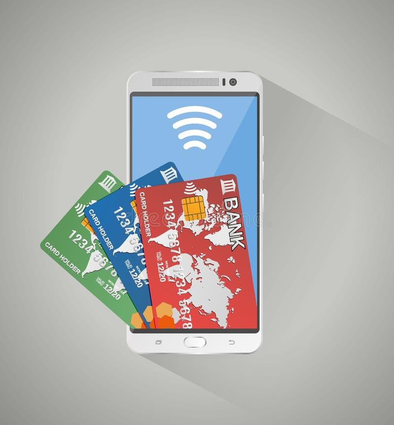 Concept mobiel bankwezen en online betaling royalty-vrije illustratie