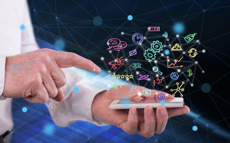 Concept mobiele apps royalty-vrije stock foto's