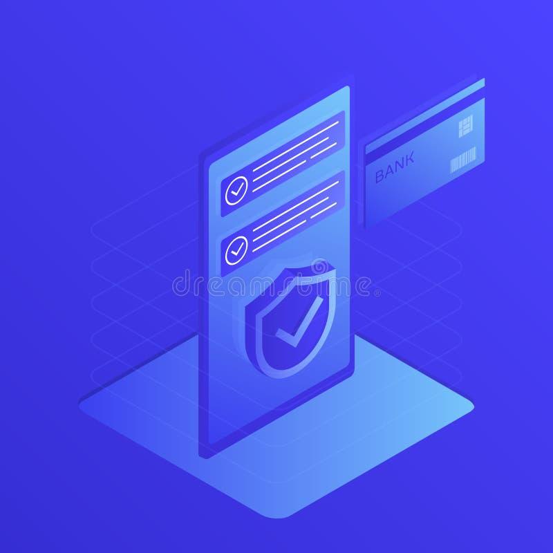 Concept mobiele betalingen, persoonlijke gegevensbescherming Moderne vlakke ontwerp vectorillustratie stock illustratie