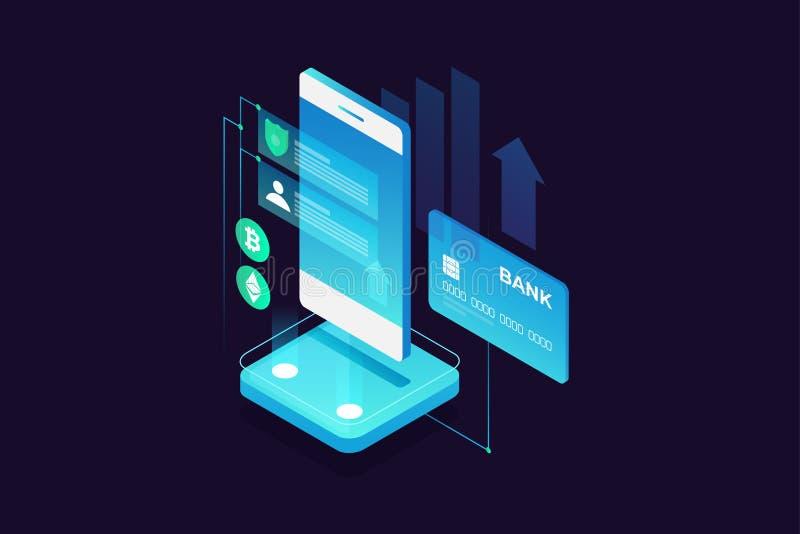 Concept mobiele betalingen, persoonlijke gegevensbescherming Overdrachtgeld van kaart royalty-vrije illustratie