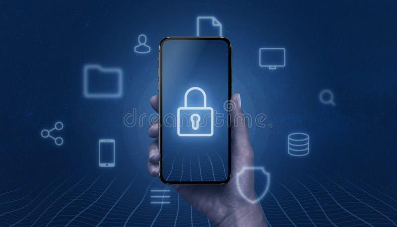 Concept mobiele veiligheid met moderne smartphone in hand met hangslotpictogram op vertoning stock fotografie
