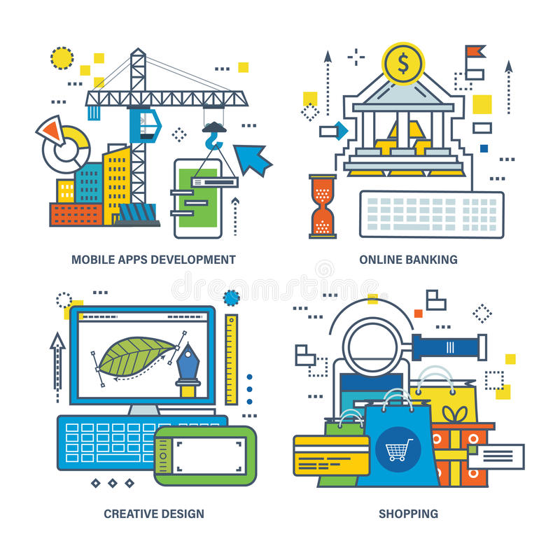 Concept of mobile apps development, online banking, creative design, shopping. stock illustration