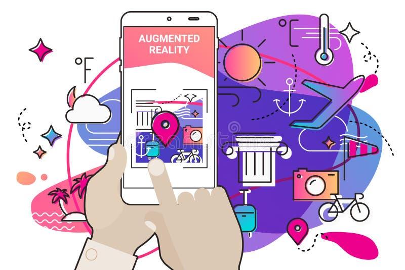Concept mobile augmenté d'appli de style d'amibe de réalité illustration stock