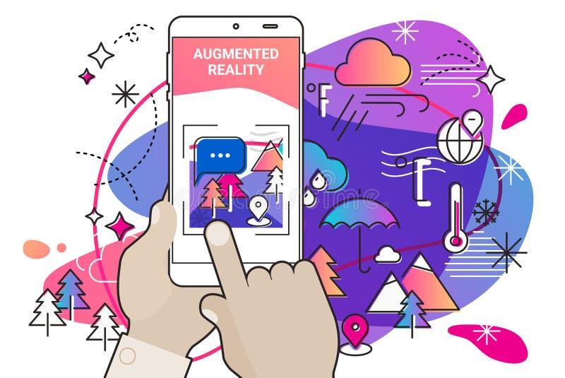 Concept mobile augmenté d'appli de style d'amibe de réalité illustration libre de droits