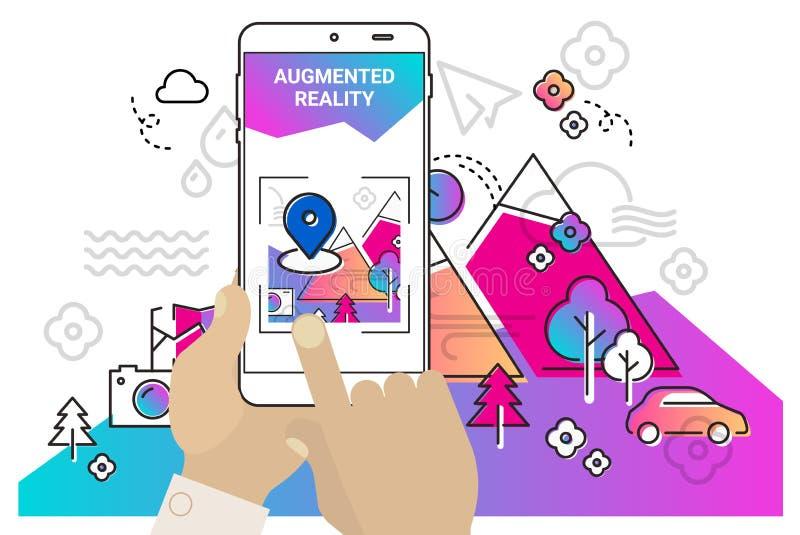 Concept mobile augmenté de la réalité APP illustration de vecteur