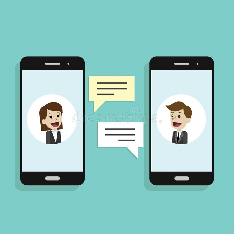 Concept of a mobile chat or conversation of people via mobile phones. Business chat. Illustrate phone chats vector illustration