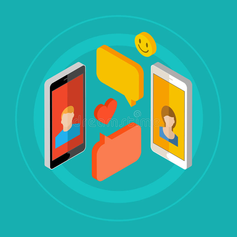 Concept of a mobile chat. Concept of a mobile chat or conversation of people via mobile phones. Can be used to illustrate globalization, connection, phone calls vector illustration