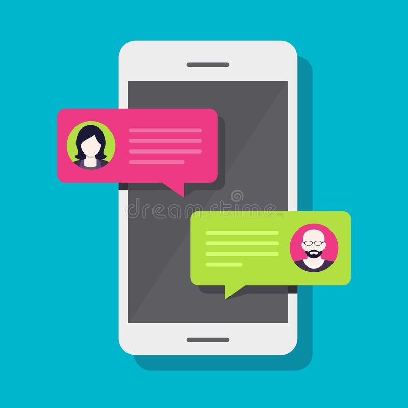 Smartphone Chat, Conversation. Concept of a mobile chat or conversation of people via mobile phones. Can be used to illustrate globalization, connection, phone stock illustration