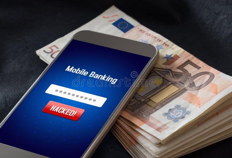 Concept mobile d'entaille d'opérations bancaires et de sécurité de cyber photographie stock libre de droits