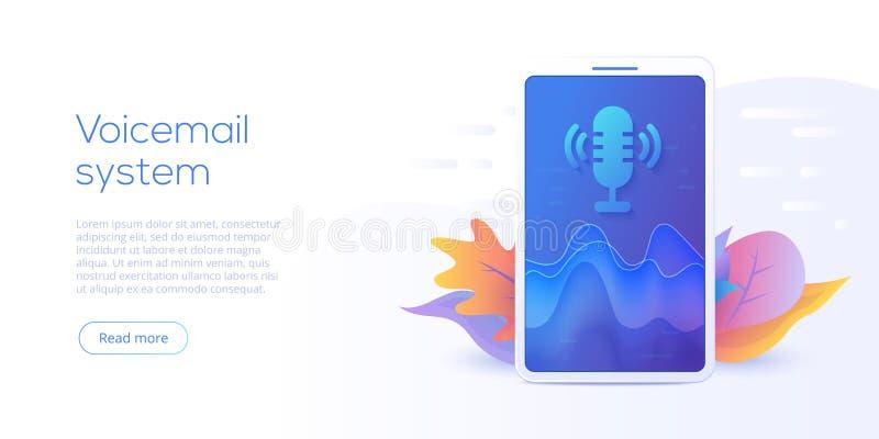 Concept mobile d'illustration de vecteur de système de message vocal ou de recherche V illustration libre de droits