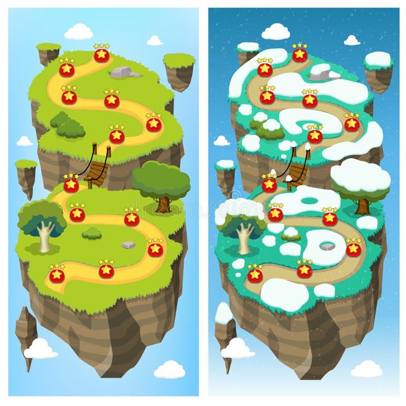Concept mobile de carte de niveau de jeu illustration de vecteur