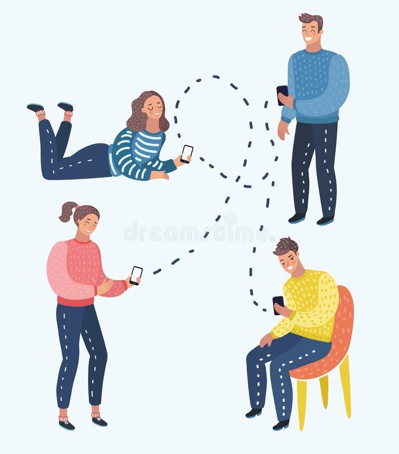 Concept mobile de messager Medias sociaux Un groupe des jeunes avec des smartphones illustration libre de droits