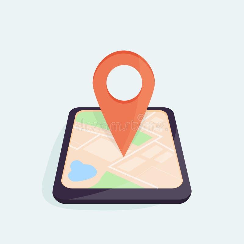 Concept mobile de navigation Smartphone avec la carte de ville de généralistes sur l'écran avec l'indicateur de carte Conception  illustration de vecteur