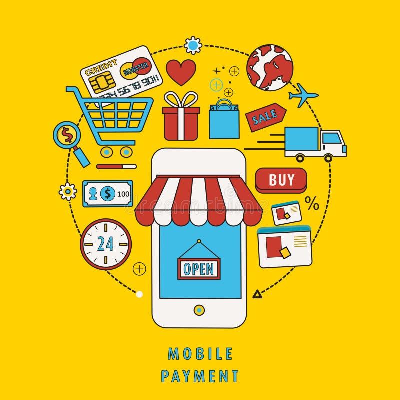Concept mobile de paiement illustration de vecteur