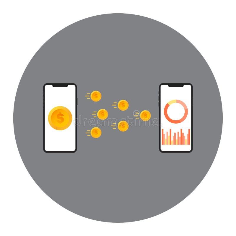 Concept mobile de vecteur de transfert d'argent L'argent d'échange de deux dispositifs les uns avec les autres Concept de transfe illustration de vecteur