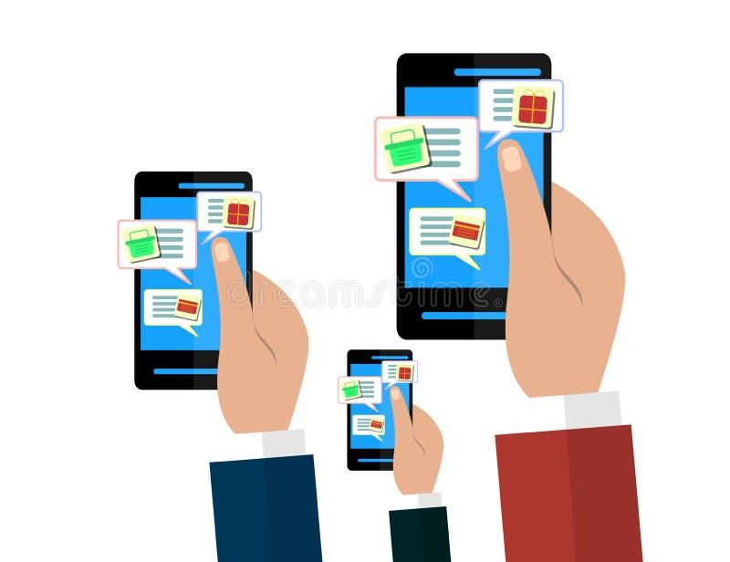 Concept mobile et en ligne de boutique Mains tenant des smartphones Vente de Digital, magasin, achats de commerce électronique illustration stock