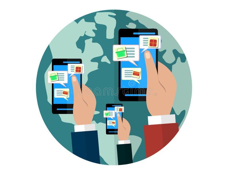 Concept mobile et en ligne de boutique Mains tenant des smartphones Vente de Digital, magasin, achats de commerce électronique illustration de vecteur