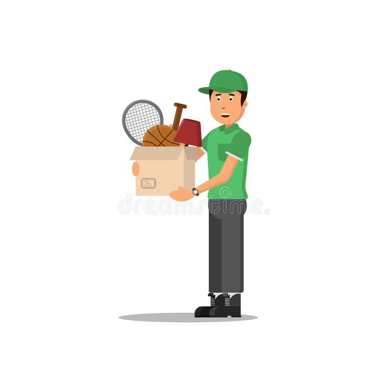 Concept mobile Icônes de soldat de la livraison avec la boîte, travailleur, moteur Illustration de vecteur illustration de vecteur