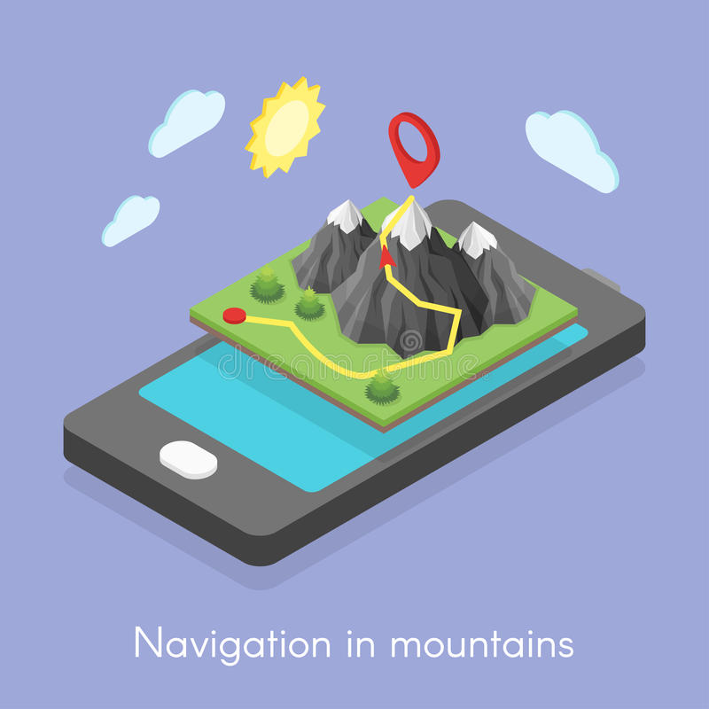 Concept of mobile map in mountains. Isometric 3d concept illustration of mobile map and navigation in mountains vector illustration