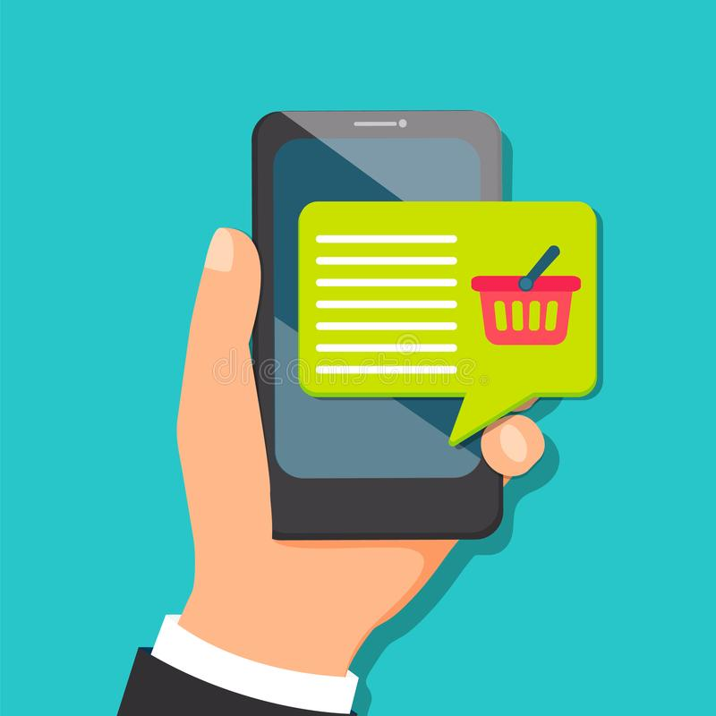 Concept for mobile purchasing. stock illustration