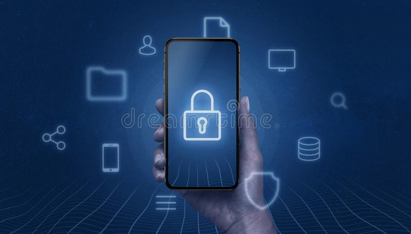 Concept of mobile security with modern smart phone in hand with padlock icon on display. Surrounded with internet, online services icons stock photography