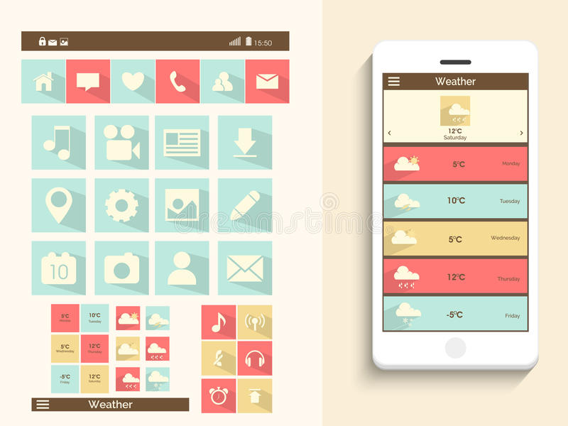 Concept of mobile user interface. royalty free illustration