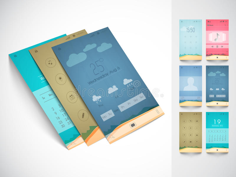 Concept of mobile user interface with template. royalty free illustration