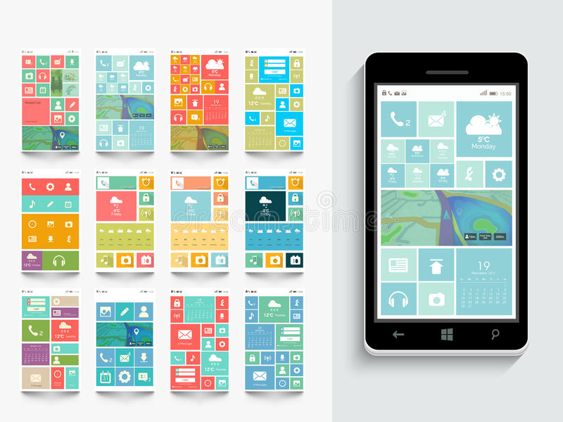 Concept of mobile user interface with template. vector illustration
