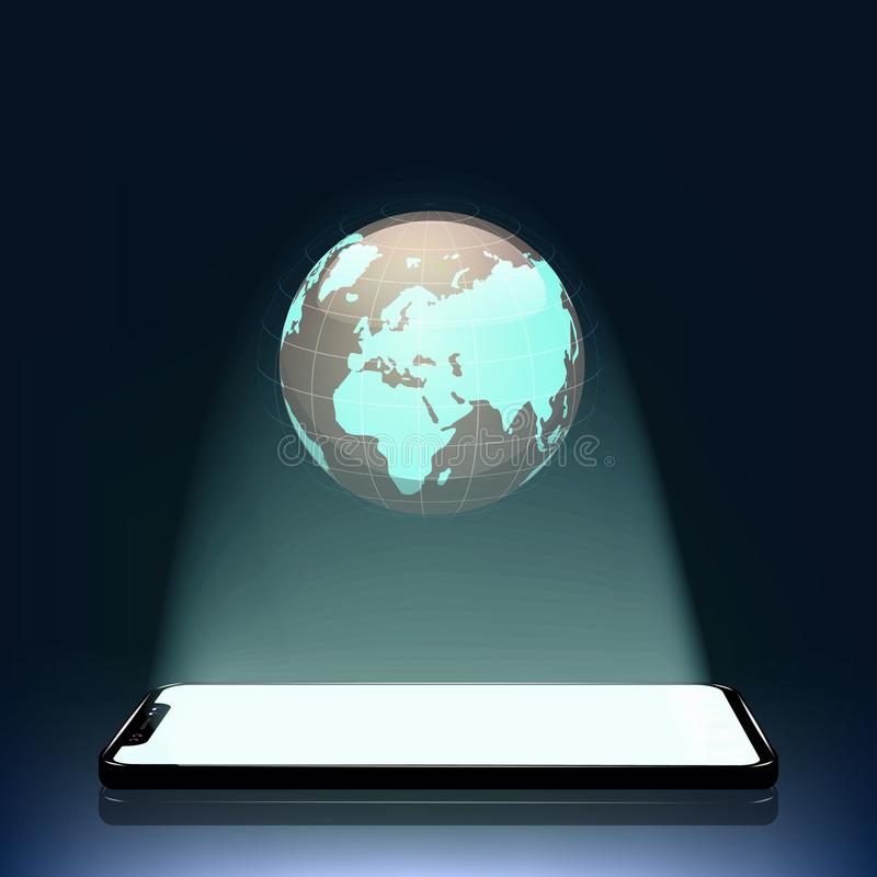 Concept The Mobile World  A Holographic Projection Of The Earth From