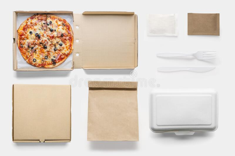 Concept of mock up pizza box set on white background. Copy space for text and logo. Set fast food. Concept of mock up pizza box set on white background. Copy stock image