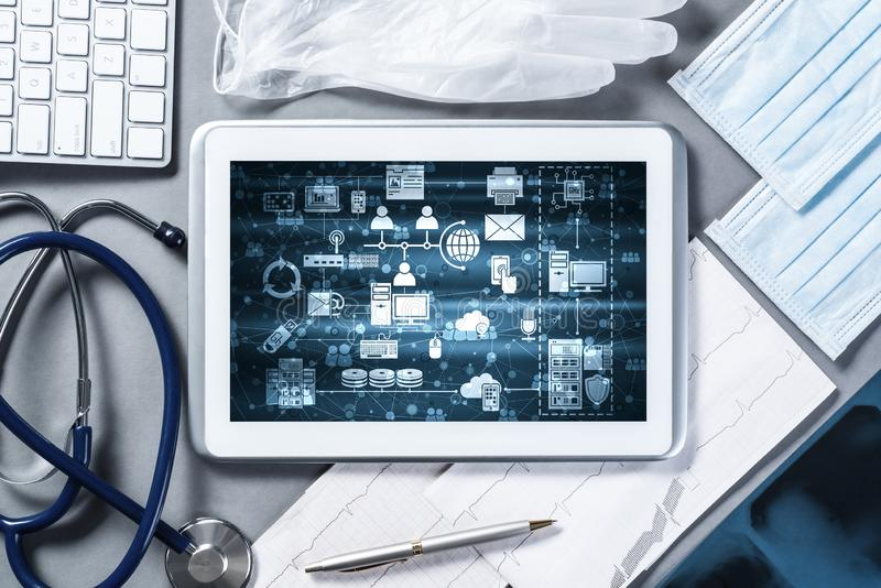 Concept of modern medicine with tablet on table from top view stock photo