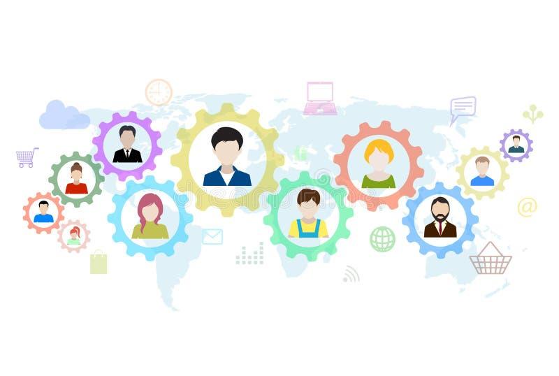 Concept modern zaken en groepswerk stock illustratie