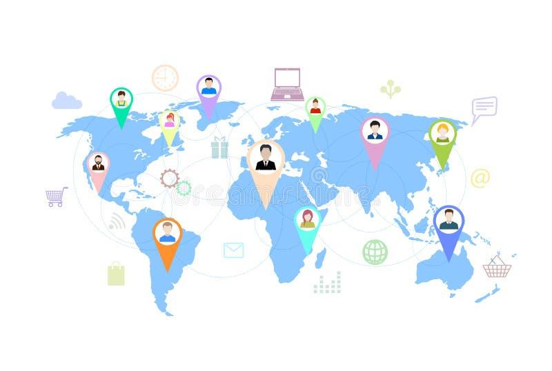Concept modern zaken en groepswerk online sociale netwerken, vector illustratie
