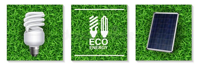 Concept moderne d'énergie réaliste d'Eco illustration libre de droits