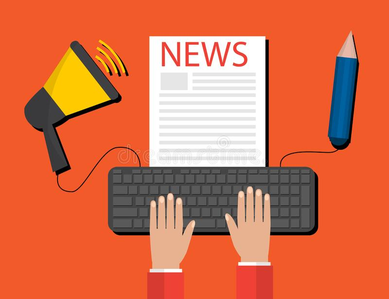 Concept moderne de communiqué de presse pour le Web, actualités en ligne Conception plate illustration stock