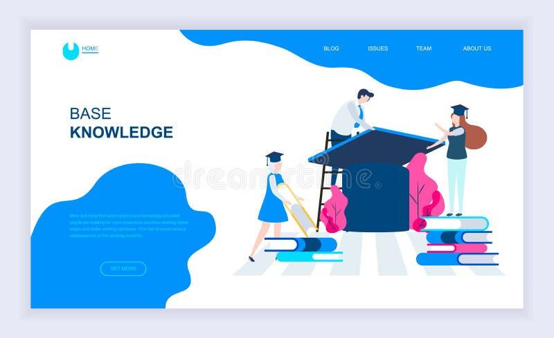 Concept moderne de conception plate de Base Knowledge avec personnage décoré de petites personnes pour le site Web et le site Web illustration libre de droits