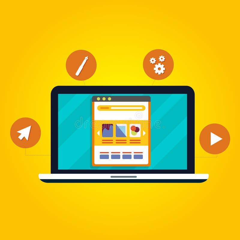Concept moderne de conception web avec le style plat - illustration de vecteur illustration de vecteur