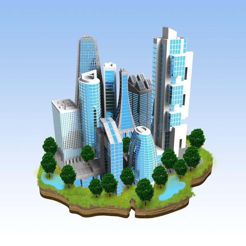 Concept moderne de miniature de ville illustration de vecteur